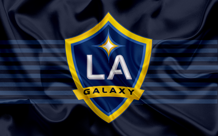 Los Angeles Galaxy FC, American Football Club, MLS, Major League Soccer, emblem, logo, silk flag, Los Angeles, California, USA, football