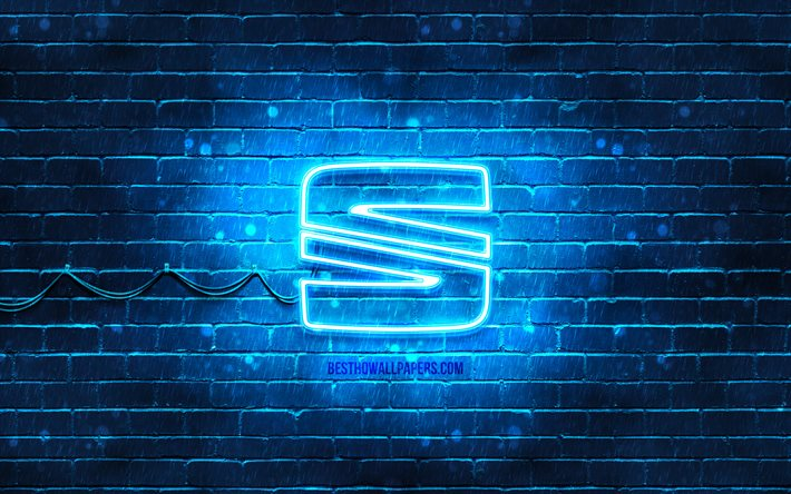 Download Wallpapers Seat Blue Logo 4k Blue Brickwall Seat Logo Cars Brands Seat Neon Logo Seat For Desktop Free Pictures For Desktop Free