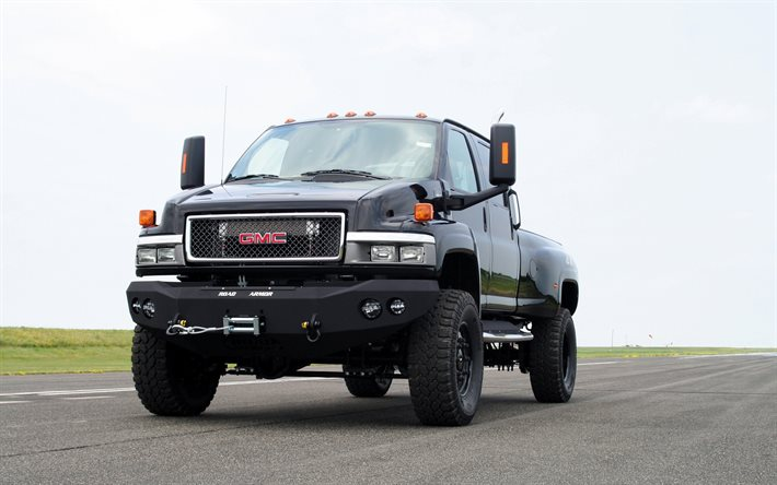 GMC C4500 TopKick, Ironhide, front view, exterior, black pickup truck, american cars, GMC