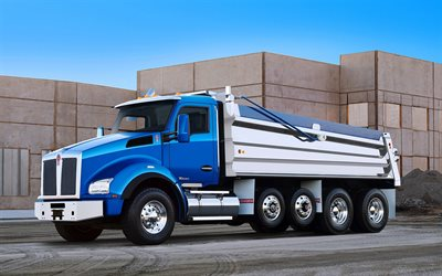 Kenworth T880, 2020, dump truck, front view, new blue T880, american trucks, Kenworth