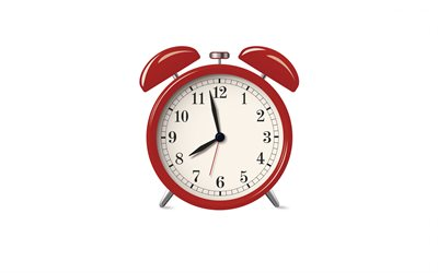 red alarm clock, white background, morning concepts, time to work, alarm clock, time concepts