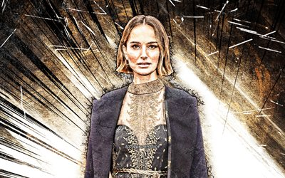 4k, Natalie Portman, grunge art, Hollywood, american celebrity, movie stars, Natalie Hershlag, brown abstract rays, american actress, Natalie Portman 4K