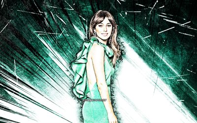 4k, Blanca Suarez, grunge art, spanish celebrity, movie stars, Blanca Martinez Suarez, green abstract rays, spanish actress, Blanca Suarez 4K
