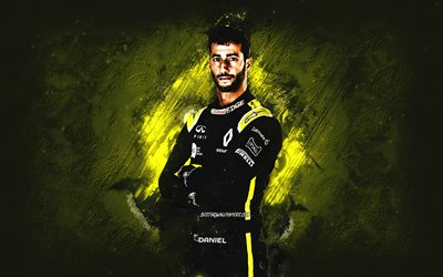 Daniel Ricciardo, Renault F1 Team, Australian racing driver, Formula 1, yellow stone background, F1, creative art