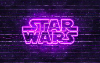 Star Wars violet logo, 4k, violet brickwall, Star Wars logo, creative, Star Wars neon logo, Star Wars