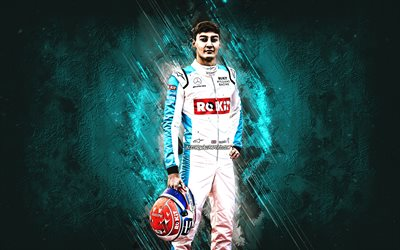 George Russell, Williams Racing, British racing driver, Formula 1, blue stone background, F1, Williams Grand Prix Engineering