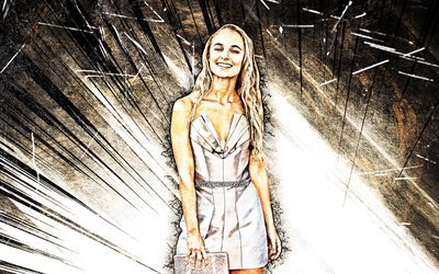 4k, Madison Iseman, grunge art, Hollywood, american celebrity, movie stars, brown abstract rays, american actress, Madison Iseman 4K