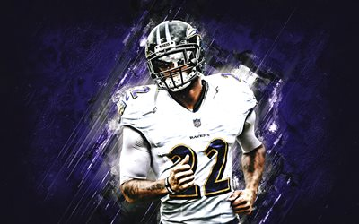 Tavon Young, Baltimore Ravens, NFL, american football, portrait, purple stone background, National Football League