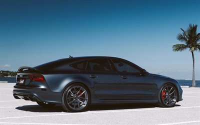 Audi A7, 2017, 4k, fastback, tuning a7, gray a7, Gran Turismo, German cars, Audi