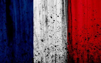 flag of France, 4k, grunge, stone texture, French flag, Europe, France, national symbols, France national flag