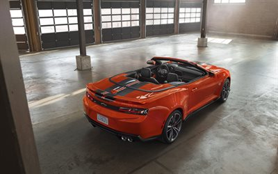 Chevrolet COPO Camaro, 2018, 4k, naranja camaro convertible, coupé deportivo de América coches, tuning, Hot Wheels Edition, Chevrolet