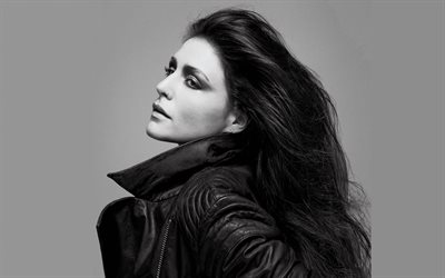 Jessie Ware, 4k, British singer, monochrome, portrait, brunette, beautiful woman