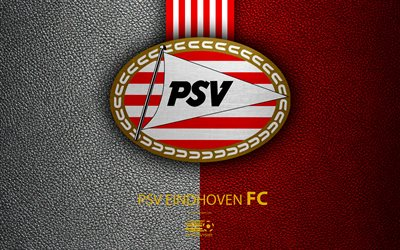 PSV Eindhoven FC, 4K, Dutch football club, leather texture, PSV logo, emblem, Eredivisie, Eindhoven, Netherlands, football, Dutch Football Championship