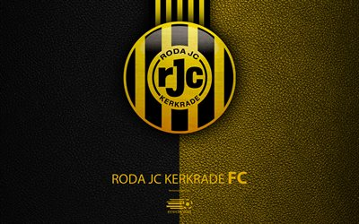 Roda JC Kerkrade FC, 4K, Dutch football club, leather texture, logo, emblem, Eredivisie, Kerkrade, Netherlands, football, Dutch Football Championship
