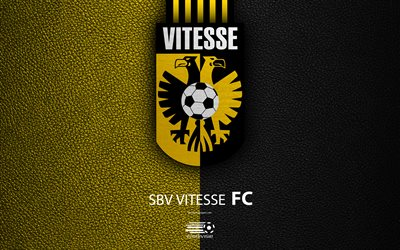 SBV Vitesse, FC, 4K, Dutch football club, leather texture, Vitesse logo, emblem, Eredivisie, Arnhem, Netherlands, football, Dutch Football Championship