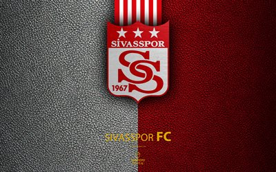 Sivasspor FC, 4k, Turkish football club, leather texture, emblem, logo, Super Lig, Sivas, Turkey, football, Turkish Football Championship