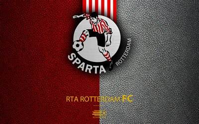 Sparta Rotterdam FC, 4K, Dutch football club, leather texture, Sparta logo, emblem, Eredivisie, Rotterdam, Netherlands, football, Dutch Football Championship