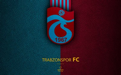 Trabzonspor FC, 4k, Turkish football club, leather texture, emblem, logo, Super Lig, Trabzon, Turkey, football, Turkish Football Championship