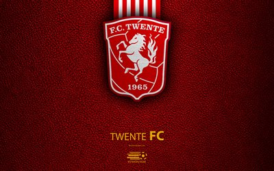 Twente FC, 4K, Dutch football club, leather texture, logo, Twente emblem, Eredivisie, Enschede, Netherlands, football, Dutch Football Championship
