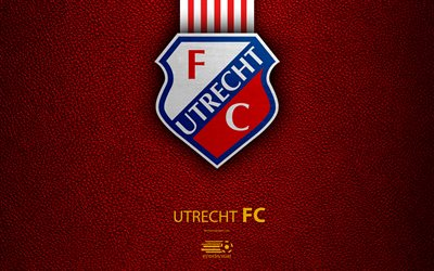 Utrecht FC, 4K, Dutch football club, leather texture, logo, emblem, Eredivisie, Utrecht, Netherlands, football, Dutch Football Championship