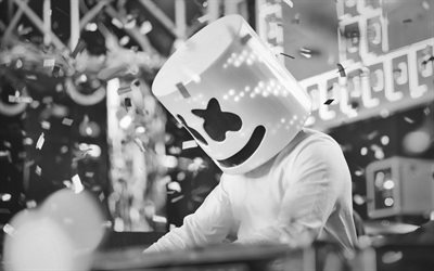 Marshmello, DJ, monocromatico, party, DJ superstar DJ Marshmello