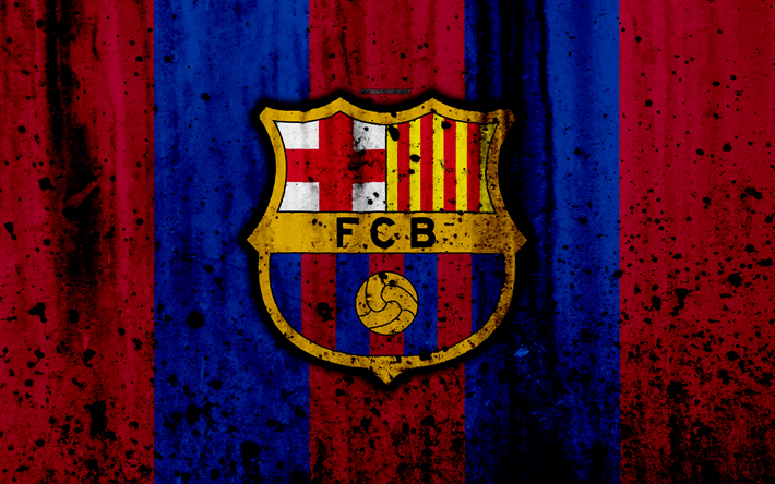 Fondos De Pantalla Del Fútbol Club Barcelona Wallpapers: Download Wallpapers FC Barcelona, 4k, Grunge, FCB, La Liga