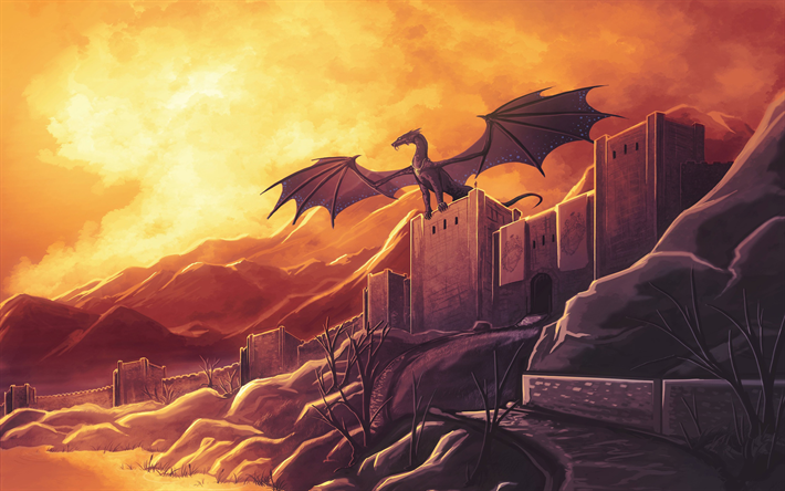 dragon, castle, artwork, mountains, great wall, sunset