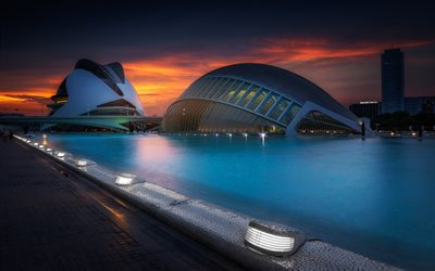 Valencia, City of Arts and Sciences, futuristic buildings, modern architecture, fountains, evening, sunset, Spain