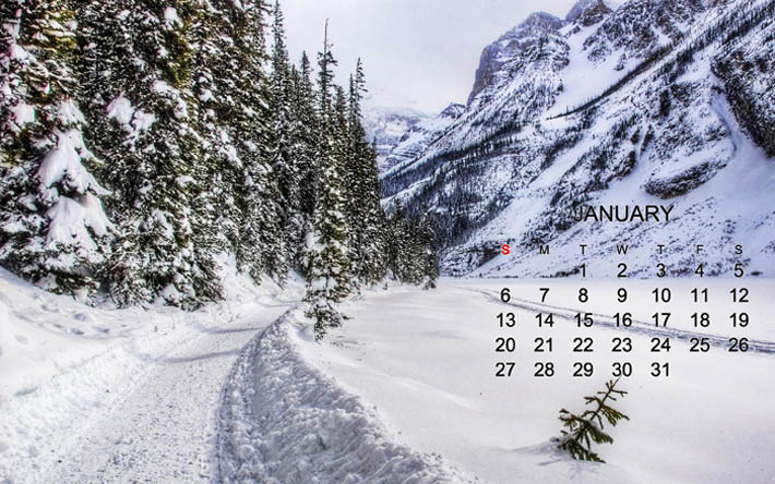 Download Wallpapers Calendar For January 2019 Winter Snow