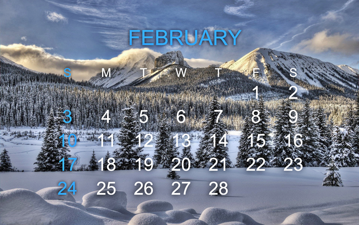Download Wallpapers Calendar For February 2019 Winter