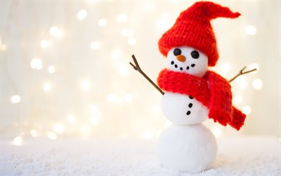 Snowman, red hat, winter, snow, Christmas, Background with a snowman, New Year