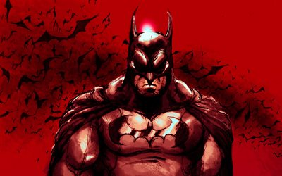 4k, Batman on red background, bats, night, Batman, superheroes, artwork, Bat-man