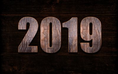 2019 wooden background, light wooden letters, 2019 concepts, Happy New Year, boards, 2019 year