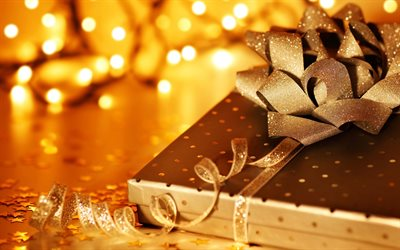 golden gift box, Christmas, New Year, golden silk bow, evening, blur, golden Christmas background