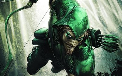 Green Arrow, artwork, 2018 movie, creative, superheroes, flying Green Arrow