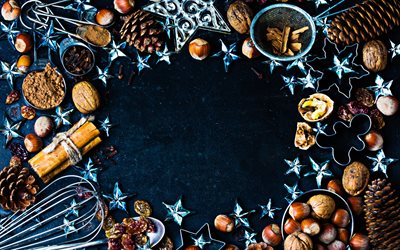 Christmas frame, cinnamon, stars, nuts, blue background, new year, christmas, Happy New Year