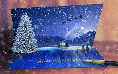 Christmas card, 3D art, Christmas tree, pen, Christmas letter, Christmas greeting, Merry Christmas
