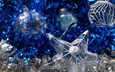 Blue Christmas background, silver Christmas balls, Happy New Year, silver star, art