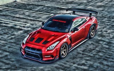 Nissan GT-R, HDR, R35, tuning, parking, supercars, red GT-R, Nissan GTR HDR, japanese cars, Nissan
