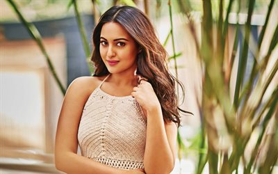Sonakshi Sinha, Indian actress, fashion model, photoshoot, portrait, Bollywood, Indian star, beige dress