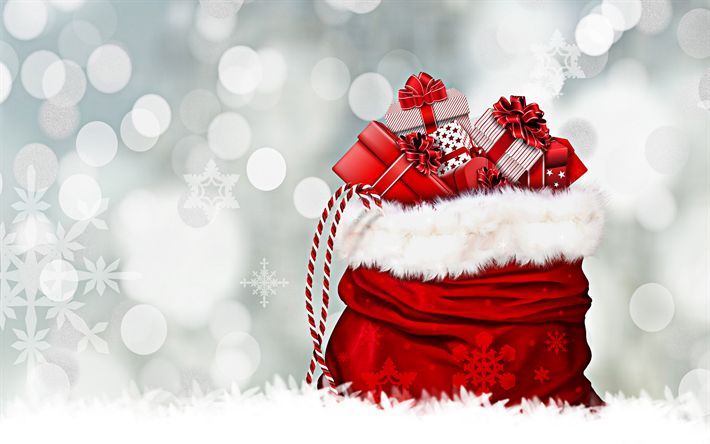 Download Wallpapers 4k Christmas Gifts Happy New Year Gift Bag Red Christmas Bag New Year Gifts Merry Christmas For Desktop Free Pictures For Desktop Free