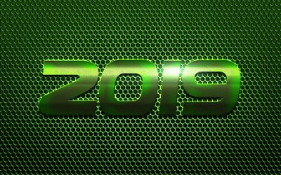 2019 Year, green metal grid, 2019 green background, Happy New Year, metal texture, art, 2019 concepts, steel letters