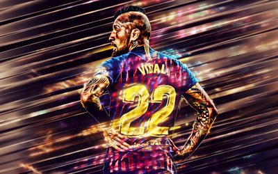 Arturo Vidal, Chilean footballer, Barcelona FC, number 22, midfielder, creative art, football, La Liga, Spain, Catalan football club, Vidal