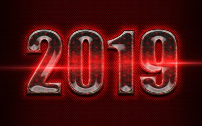 2019 glass digits, Happy New Year 2019, red metal background, red digits, 2019 glass art, 2019 concepts, red neon lights, 2019 on red background, 2019 year digits