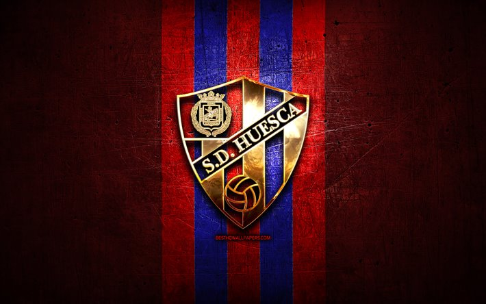 Presupuesto T8 Thumb2-huesca-fc-golden-logo-la-liga-2-red-metal-background-football