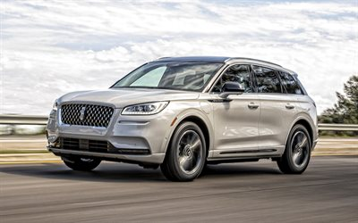2021, Lincoln Corsair, PHEV Grand Touring, exterior, front view, white SUV, new white Corsair, american cars, Lincoln