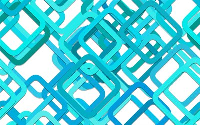 blue abstraction, blue squares, polygons, 3d background