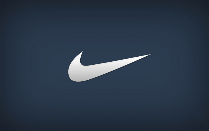download wallpapers nike logo emblem blue background