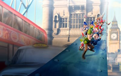 Gnomeo and Juliet Sherlock Gnomes, 4k, 2018 movie, 3D-animation, Gnomeo and Juliet 2