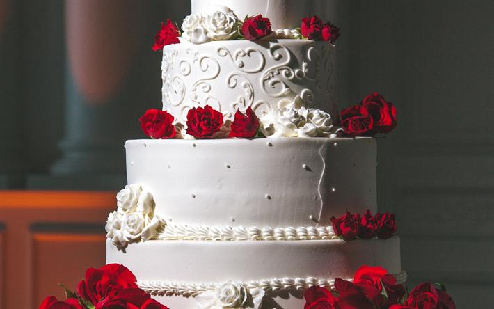 Herunterladen Hintergrundbild Hochzeitstorte Mit Roten Rosen Eine
